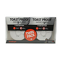 FireAngel Toast Proof SB1-TP-R Optical Smoke Alarm with 1-year battery, Pack of 2