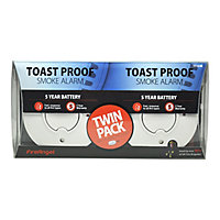 FireAngel Toast Proof TST-625R Thermoptek Smoke Alarm with 5-year batteries, Pack of 2