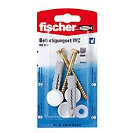 Fischer Toilet Fixing cap kit (L)70mm, Pack of 2