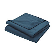 Fleece Blue Plain Fleece Throw