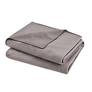 Fleece Grey Plain Fleece Throw