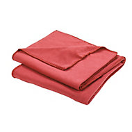 Fleece Red Plain Fleece Throw