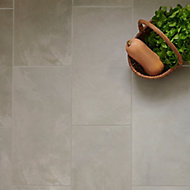 Floated Light grey Satin Concrete effect Porcelain Floor tile, Pack of 6, (L)600mm (W)300mm