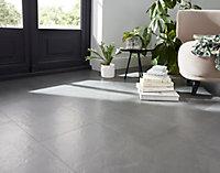 Floated Medium grey Satin Concrete effect Porcelain Floor tile, Pack of 6, (L)600mm (W)300mm