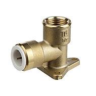 Flomasta Push-fit 90° Reducing Wallplate Elbow valve (Dia)15mm