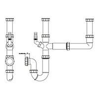 FloPlast 2 bowl Kitchen sink waste kit, (Dia)40mm