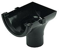 FloPlast Black Half round Stop end Gutter outlet, (L)40mm (Dia)112mm