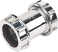 FloPlast Chrome effect Compression Waste pipe Coupler (Dia)40mm