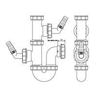 FloPlast Double nozzle Appliance Trap (Dia)40mm