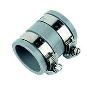 FloPlast FlexiFlo Grey Compression Adjustable Straight Waste pipe Coupler (Dia)38mm