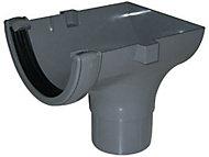 FloPlast Grey Round Stop end Gutter outlet, (L)139mm (Dia)112mm
