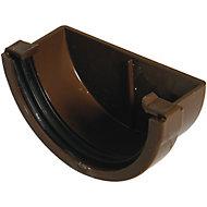 FloPlast Miniflo Brown Half round Gutter stop end, (L)51mm (Dia)76mm