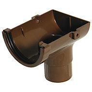 FloPlast Miniflo Brown Half round Stop end Gutter outlet, (L)150mm (Dia)76mm