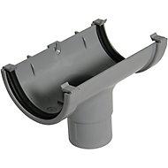 FloPlast Miniflo Grey Half round Running Gutter outlet, (L)150mm (Dia)76mm