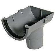 FloPlast Miniflo Grey Half round Stop end Gutter outlet, (L)150mm (Dia)76mm