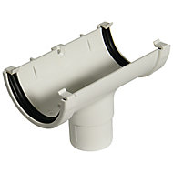 FloPlast Miniflo White Half round Running Gutter outlet, (L)150mm (Dia)76mm