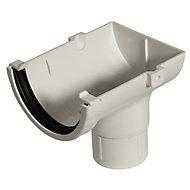 FloPlast Miniflo White Half round Stop end Gutter outlet, (L)150mm (Dia)76mm