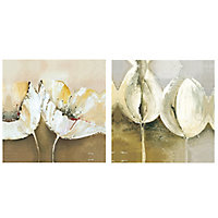 Floral Multicolour Wall art, Set of 2 (H)450mm (W)450mm