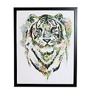 Floral tiger Green Framed print (H)500mm (W)400mm