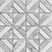 Florence Grey & white Polished Marble 2x2 Mosaic tile, (L)300mm (W)300mm