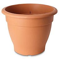 Florus Glazed Brown Plastic Bell Plant pot (Dia)55cm