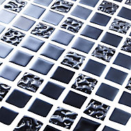 Flourencia Black Glass effect Glass Mosaic tile, (L)300mm (W)300mm