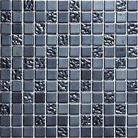 Flourencia Black Glass effect Mosaic Glass Mosaic tile, (L)300mm (W)300mm