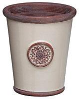 Flute motif Glazed Cream Planter