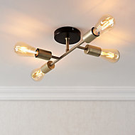 Flux Black Brass effect 4 Lamp Ceiling light