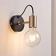 Flux Black & brass Wired Wall light