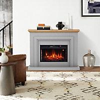 Focal Point Horsham Oak & grey Electric Fire suite