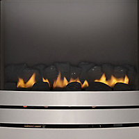 Focal Point Lulworth flue less Brushed stainless steel effect Gas Fire