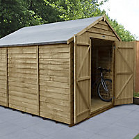 Forest Garden 10x8 Apex Pressure treated Overlap Natural Timber Wooden Shed with floor