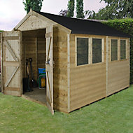 Forest Garden 10x8 Apex Pressure treated Tongue & groove Wooden Shed with floor - Assembly service included