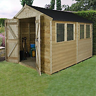 Forest Garden 10x8 Apex Pressure treated Tongue & groove Wooden Shed with floor