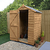 Forest Garden 4x3 Apex Dip treated Overlap Wooden Shed with floor (Base included)