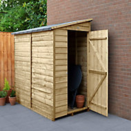 Forest Garden 6x3 Pent Pressure treated Overlap Natural Timber Wooden Shed with floor - Assembly service included