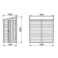 Forest Garden 6x3 Pent Pressure treated Overlap Natural Timber Wooden Shed with floor