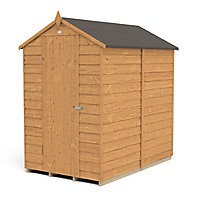 Forest Garden 6x4 Apex Dip treated Overlap Golden Brown Wooden Shed with floor