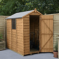 Forest Garden 6x4 Apex Dip treated Overlap Wooden Shed with floor (Base included)