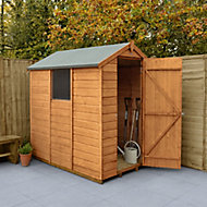 Forest Garden 6x4 Apex Dip treated Shiplap Golden Brown Shed with floor (Base included) - Assembly service included
