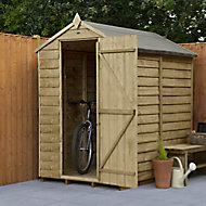 Forest Garden 6x4 Apex Pressure treated Overlap Natural Timber Wooden Shed with floor