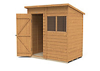 Forest Garden 6x4 Pent Dip treated Overlap Golden Brown Wooden Shed with floor (Base included)