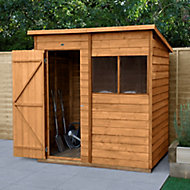 Forest Garden 6x4 Pent Dip treated Overlap Wooden Shed with floor - Assembly service included