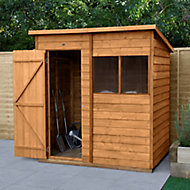Forest Garden 6x4 Pent Dip treated Overlap Wooden Shed with floor (Base included) - Assembly service included
