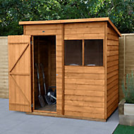 Forest Garden 6x4 Pent Dip treated Overlap Wooden Shed with floor (Base included)