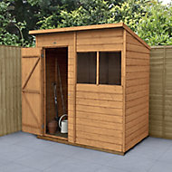 Forest Garden 6x4 Pent Dip treated Shiplap Golden Brown Shed with floor (Base included) - Assembly service included