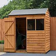 Forest Garden 6x4 Reverse apex Dip treated Overlap Wooden Shed with floor - Assembly service included