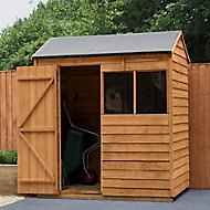Forest Garden 6x4 Reverse apex Dip treated Overlap Wooden Shed with floor