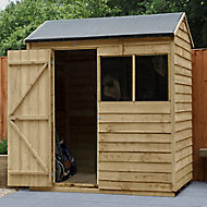 Forest Garden 6x4 Reverse apex Pressure treated Overlap Wooden Shed with floor (Base included)